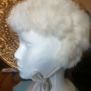 Vintage real fur White with ear panels